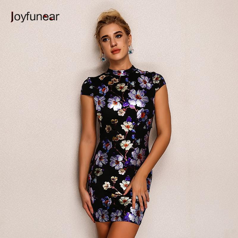 34330a50ff3 20187 Joyfunear Fashion Back Tie Up Print Summer Dress Sexy Short Sleeve  Elegant Mini Dress Women Slim Fit Bodycon Short Dresses Floral Dress Women  Casual ...