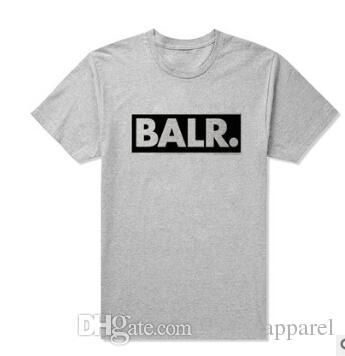 Verão BALR Tees Homens Preto Branco Cinza Letras Impresso Camisetas de Manga Curta Street Wear Tops Roupas