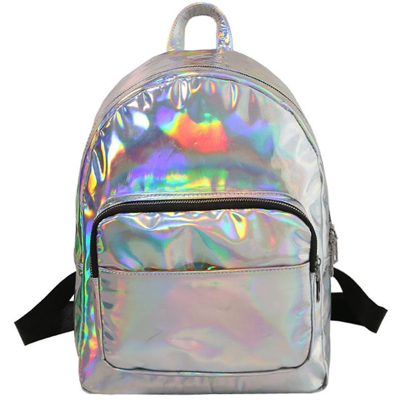 Women Backpack Hologram Laser Backpacks Girl School Bag Female Simple  Silver Bags Leather Holographic Sac Big Medium Small Size Boys Backpacks  Hydration ... 1bf5d515f82b9