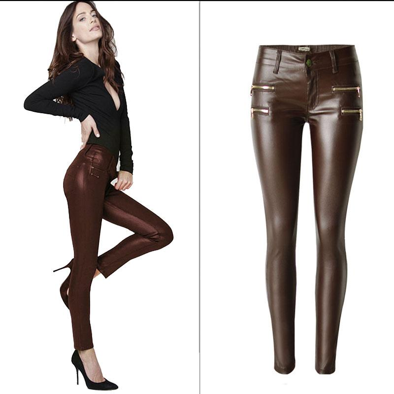 2017 Mid High Waist Women Jeans Sexy Stretch Elastic PU Faux Leather Jeans Slim Skinny Pencil Pants Washed Coated Zippered Jeans