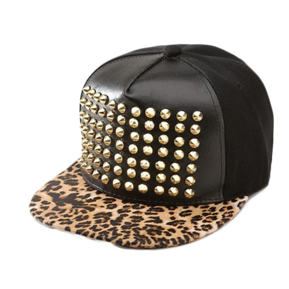 564e66f09fa Hot Fashion Cool Street Style Women Gilrs Leopard Printed Stud Snapback  Casual Hiphop Hat Adjustable Baseball Cap Hip Hop Hats Flexfit Cap Ny Caps  From ...
