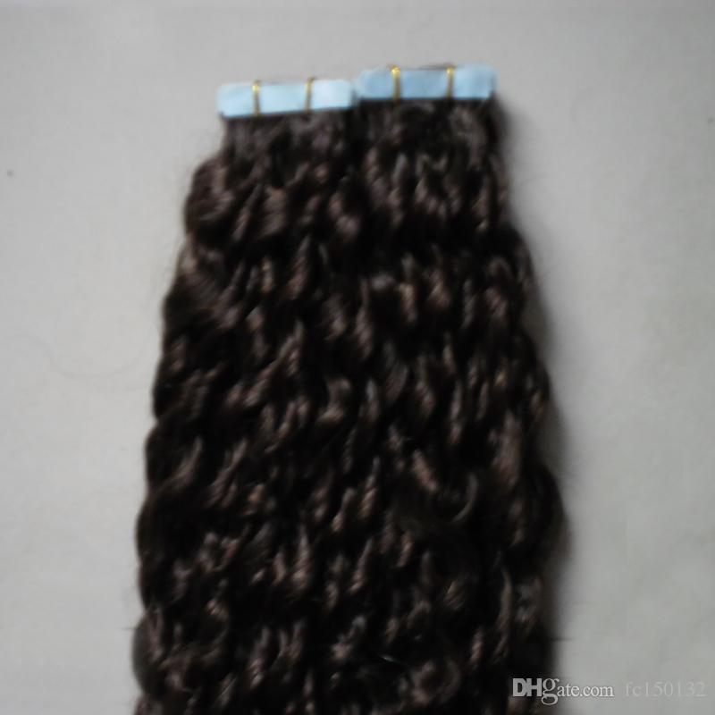 # 2 Самая темная коричневая афро кудрявая кудрявая лента в наращивании человеческих волос 100г бразильских курчавых девственных волос 40шт. / Set Skin Weft Hair
