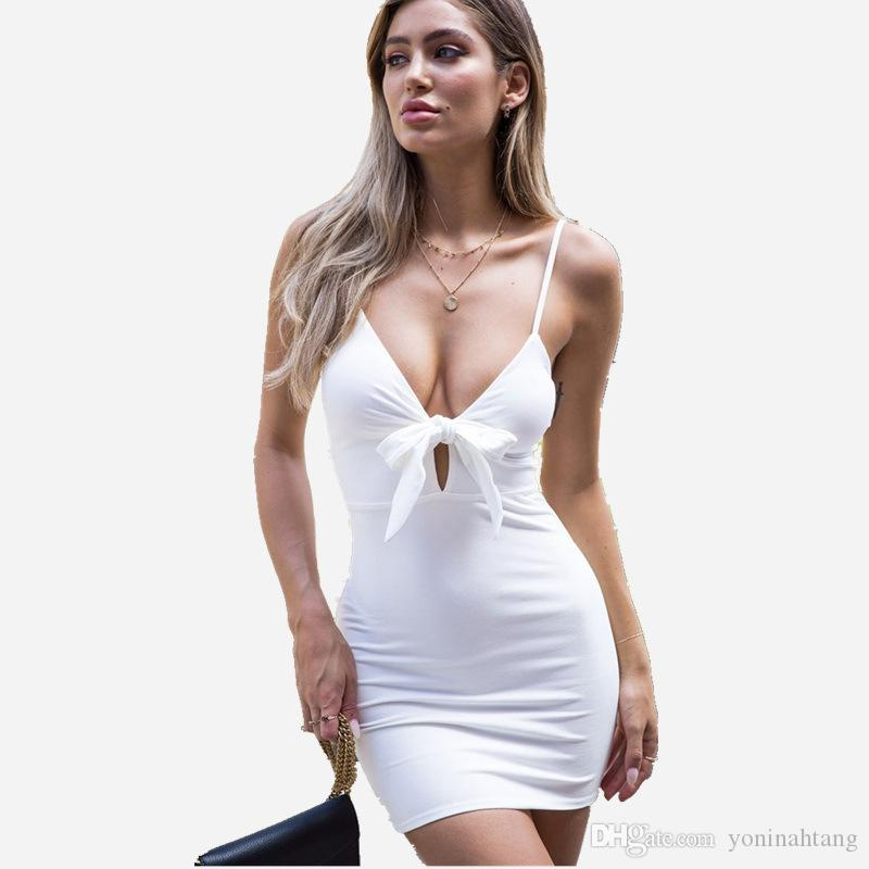 Wholesale Women Summer Casual Strapless Sexy Deep V Neck Sleeeveless Bodycon Mini Party Dress