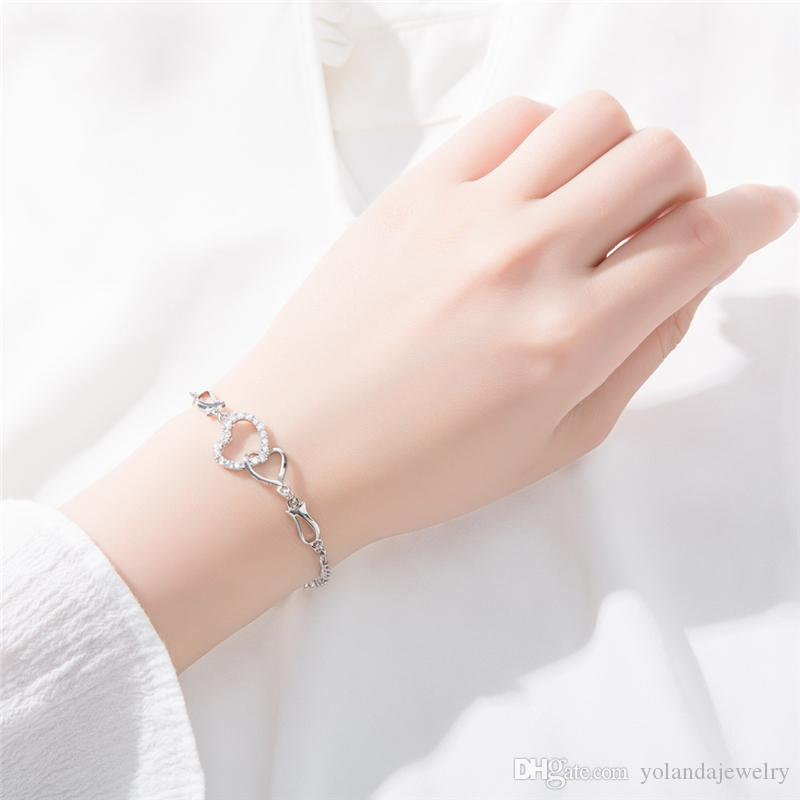 Charming Women Bracelets 18K White Rose Gold Plated CZ Double Bracelets for Girls Women for Party Wedding Nice Gift