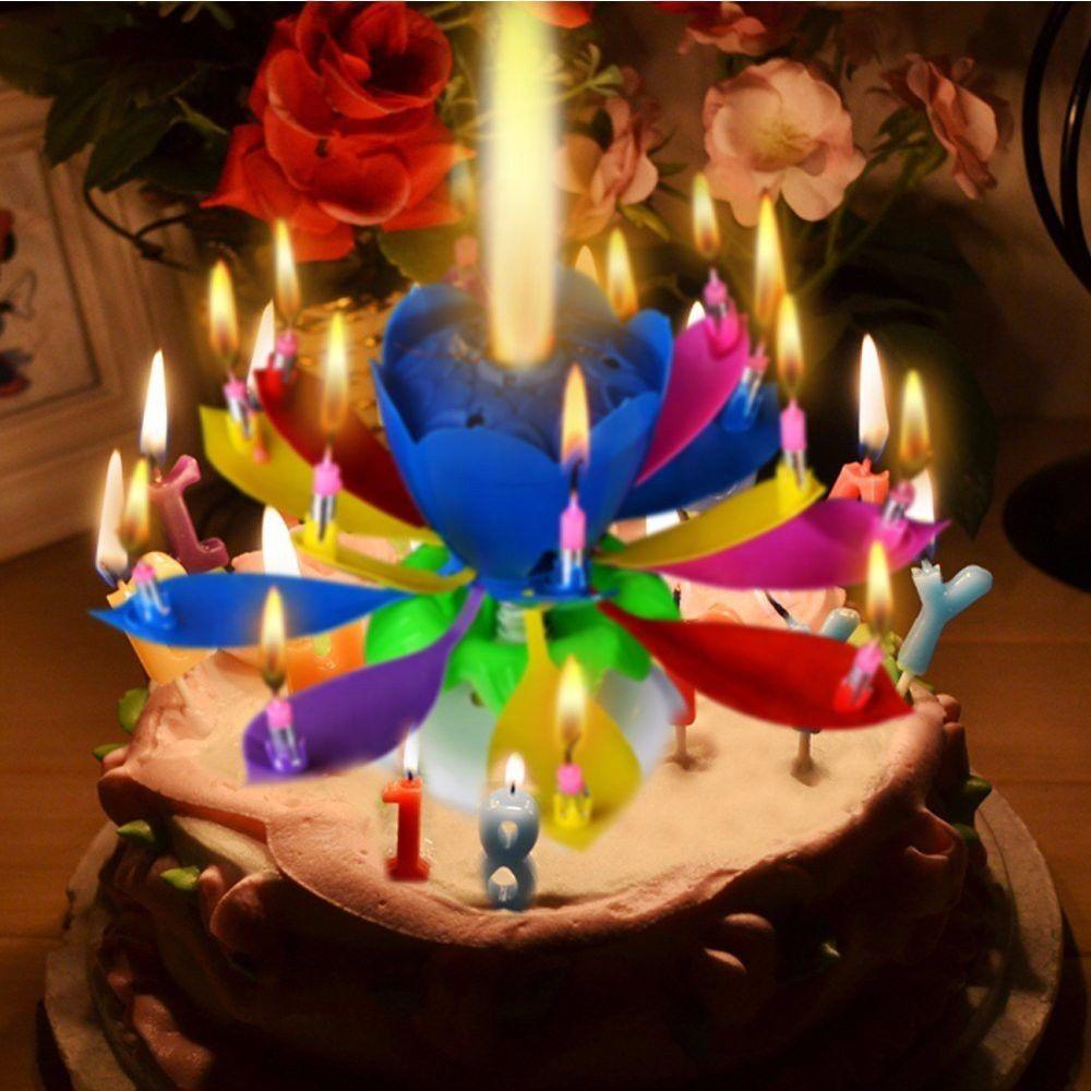 Happy Birthday Candles Electric Led For Cake Musical Lotus Flower Art Rotating Lights Lamp Party Decoration Gift Magical Blossom