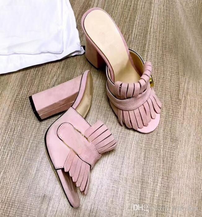 Kid suede 10 cm High Heels Sandals women 2018 Runway style pumps metal fringe tassel slippers zapatos mujer summer beach shoes ladies