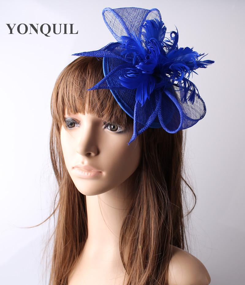 a49552273be Royal Blue Sinamay Hats Feather Flower Fascinators For Party Hats Bridal  Hair Accessories Cocktail OF153506 Girls Birthday Party Supplies Girls  First ...