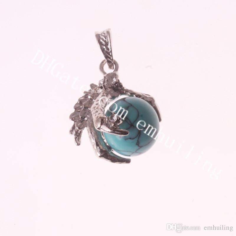 16mm Gemstone Sphere Charm Pendant Men's Gothic Biker Tribal Zinc Alloy Dragon Claw & Natural Stone Quartz Crystal Ball Pendant for Necklace