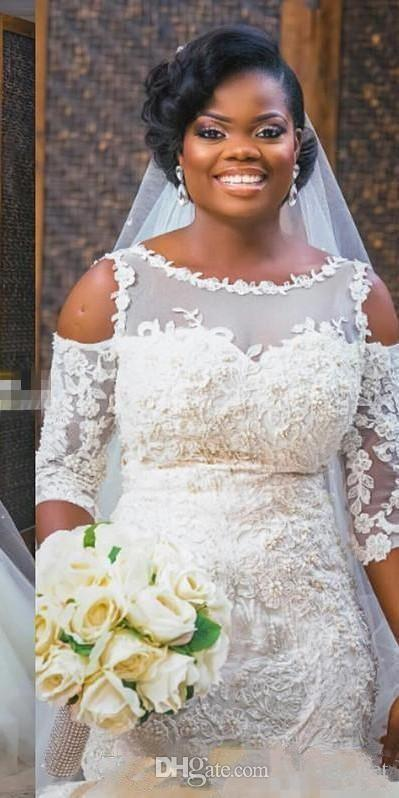 2019 아프리카 웨딩 드레스 인어 케이프 슬리브 바닥 길이 푹신한 얇은 명주 그물 치마 신부 가운 빈티지 레이스 Applique 플러스 크기 웨딩 가운