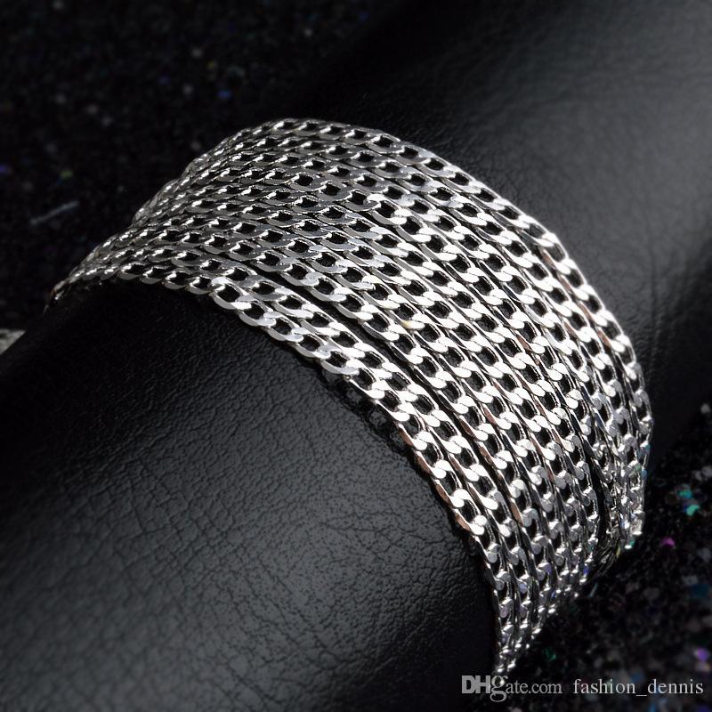 Toptan 2 MM 925 ayar gümüş Yan zincirler kolye 16 18 20 22 24 26 28 30 inç moda Takı toplu