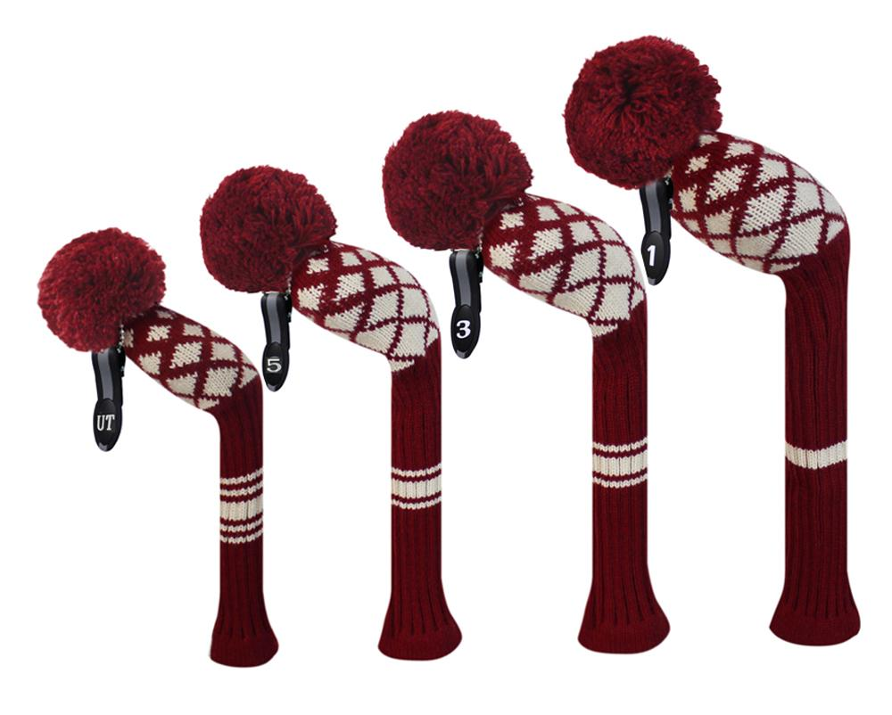 Wine Red Color Reticulated Pattern Knitted Golf Headcovers for 1 ...