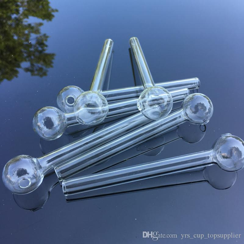 Great Pyrex oil burner 12cm 10cm Thick Clear Glass Oil Burner pipe Clear Glass Tube Oil Burning Pipe somking pipes water pipes