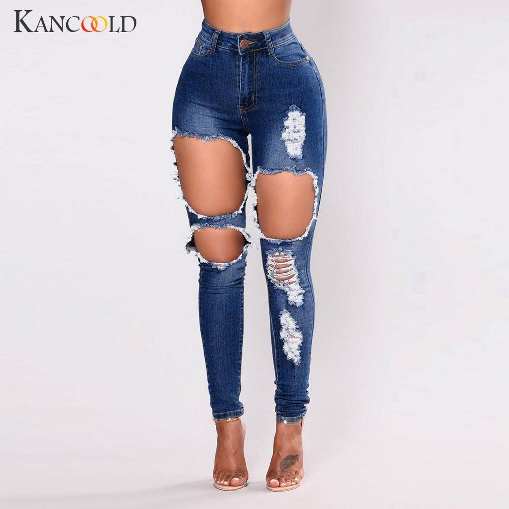 35bd385dd5 Compre KANCOOLD Jeans Moda Mujeres Denim Hole Mujer Pantalones Vaqueros De  Cintura Alta Estiramiento Delgado Sexy Pantalones Lápiz Mujer 2018Oct23 A   35.68 ...