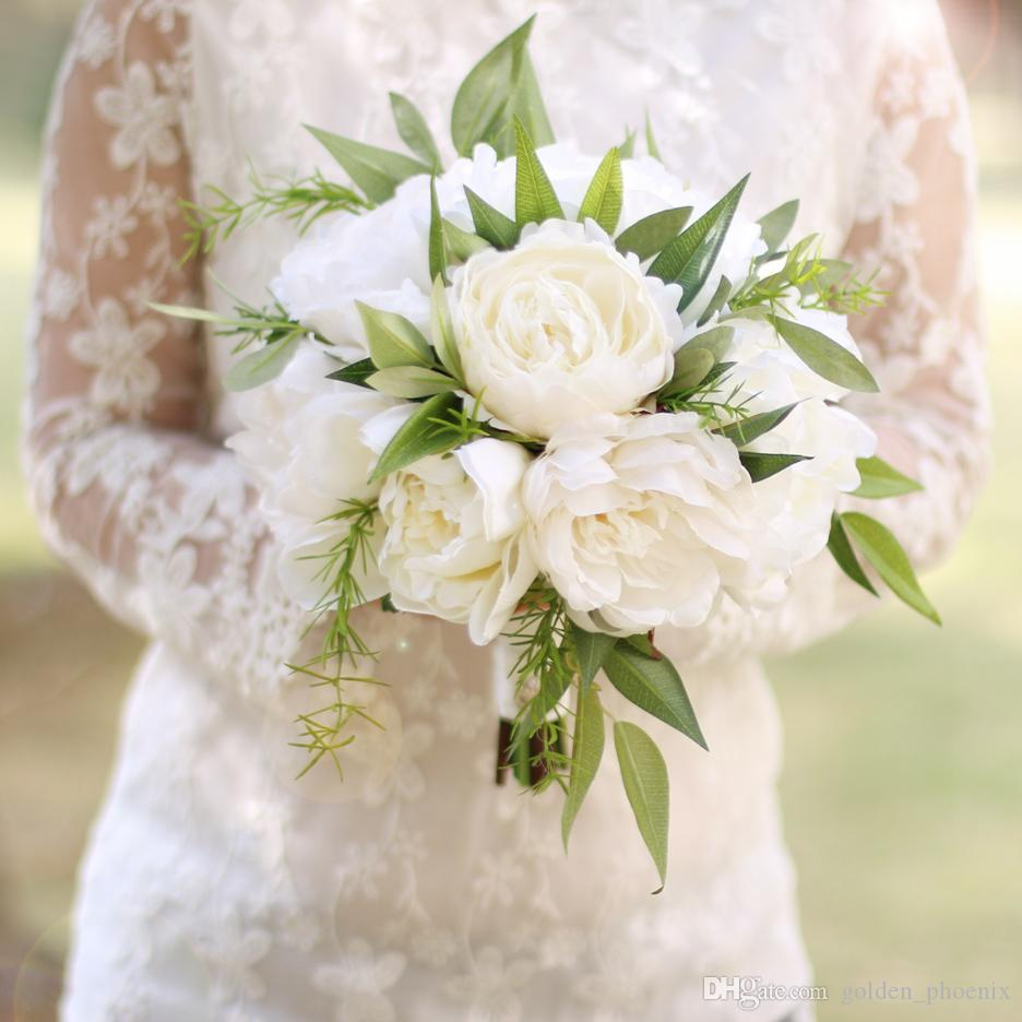 Bouquet Sposa Bianco E Verde.Acquista High End Bouquet Da Sposa Bianco Peonia Agrifoglio Sen