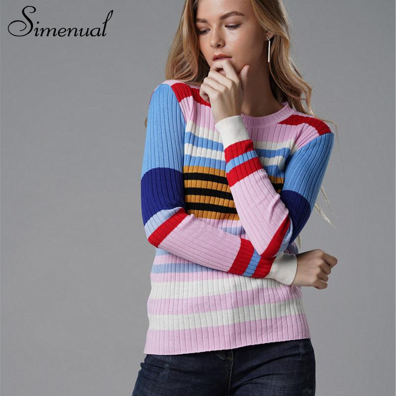 2467cbb549 2019 Fashion Rainbow Sweater Knitwear Striped Colorful Pullover Female  Clothes Autumn Pull Slim Sexy Sweaters For Women From Fashionbebe