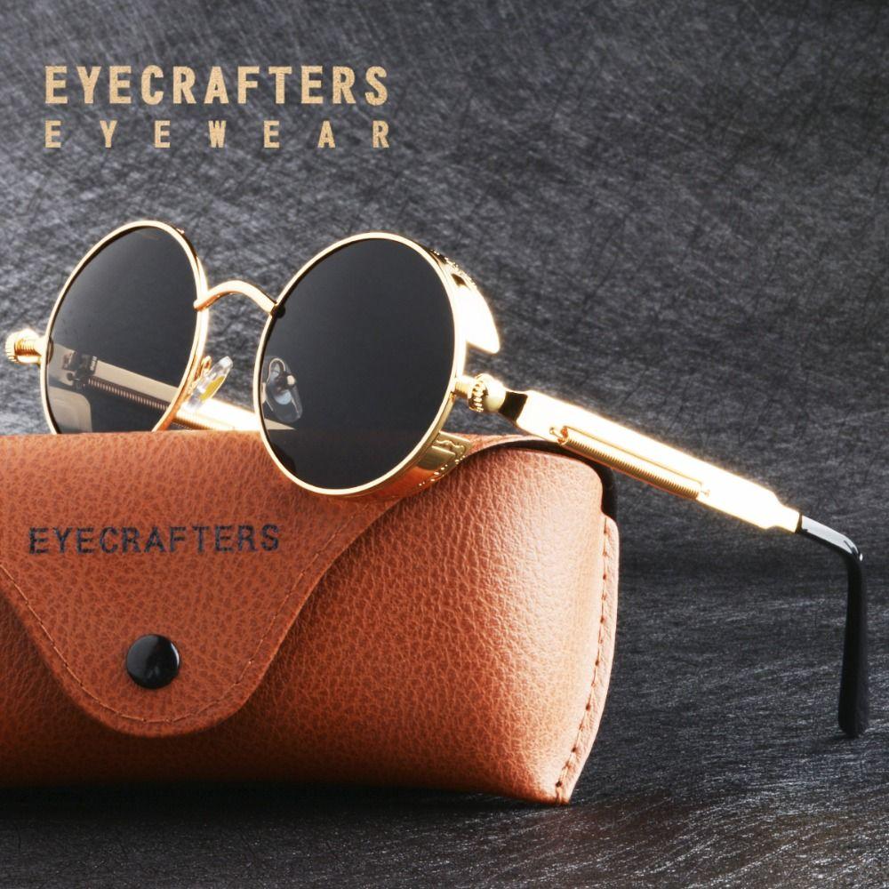 eb6bb91f49 Black Lens Metal Polarized Sunglasses Gothic Steampunk Sunglasses Mens  Womens Fashion Retro Vintage Side Shield Eyewear Shades Discount Sunglasses  Sports ...