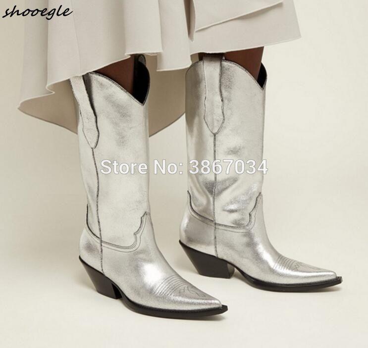 Shooegle Silver Leather Cowboy Boots Women Pointed Toe Cuban Heels