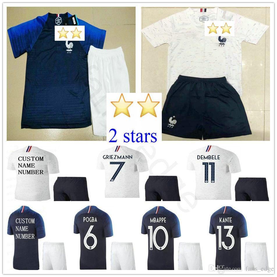 2018 Kids Soccer Jerseys 2 Stars 7 GRIEZMANN 6 POGBA 10 MBAPPE ... df6a581ed
