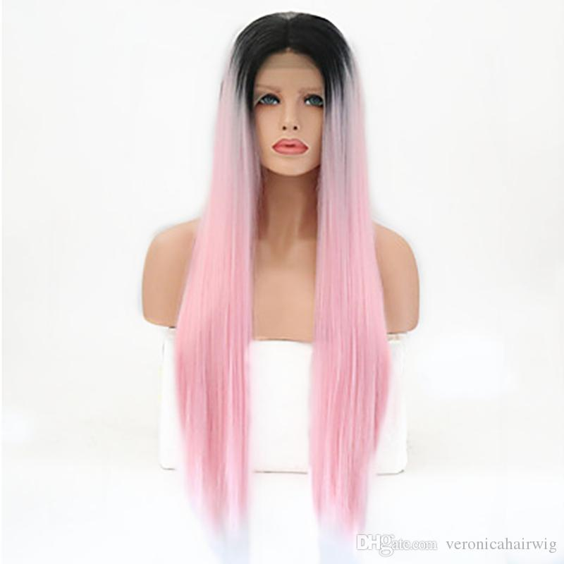 Hot Synthetic Lace Front Wig 2 Tones Ombre Pink Long Straight Layered Haircut Synthetic Hair Heat Resistant Wig Women's Cosplay Party Wig