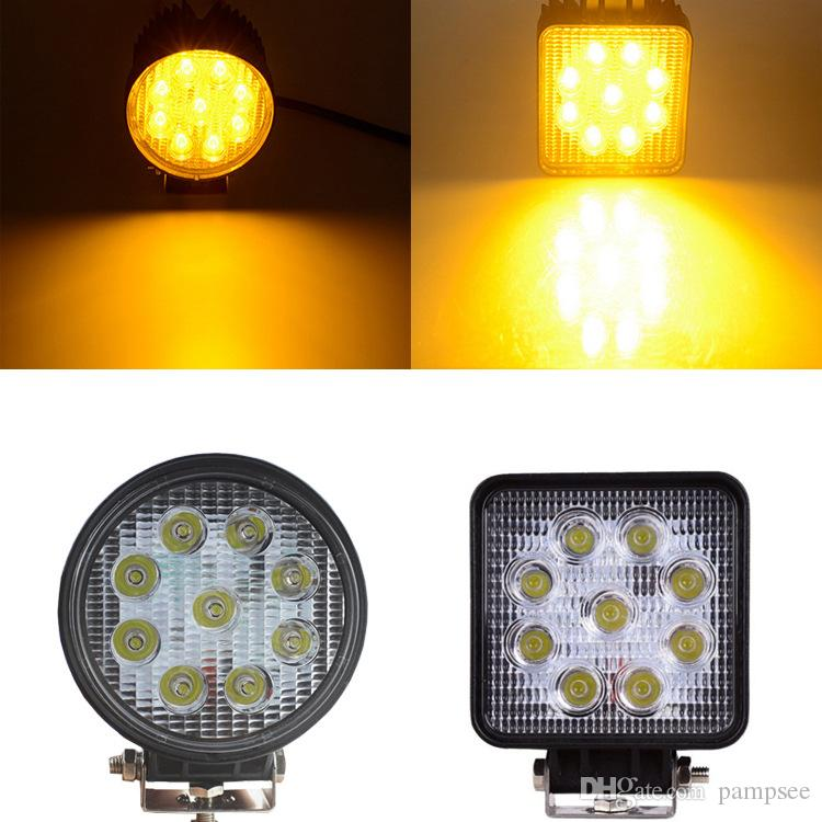 Pampsee 4Inch 27W 2000LM 2000K Led Work Light Spot Flood Near Far Working Lamp Yellow Driving Bulb for Tractor Boat Offroad
