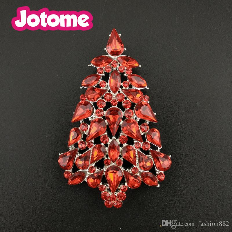 Gold Tone Clear Crystal Rhinestone Christmas Tree With Pearl Pin Brooch