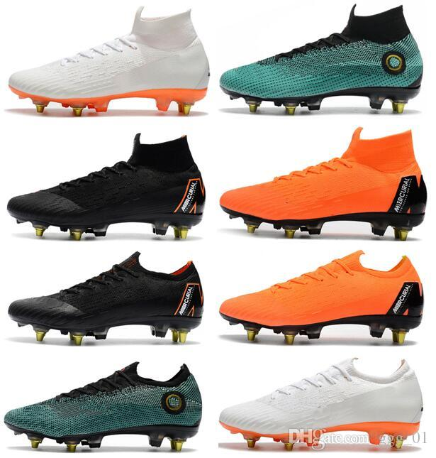 ad733d9a84 2019 Top 2018 Mens Soccer Cleats Mercurial Superfly VI 360 Elite SG AC  Steel Spikes Men Soccer Shoes High Ankle Chaussures De Football Boots From  Ggg 01