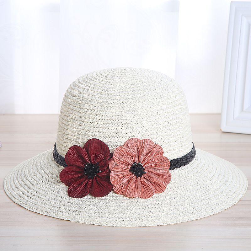 6144261967e46 New Two Flowers Children Sun Hat Spring Summer Sunscreen Women And ...