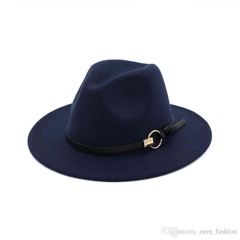 661ad33ddc5 2019 New Fashion Top Hats For Men   Women Elegant Fashion Solid Felt Fedora  Hat Band Wide Flat Brim Jazz Hats Stylish Trilby Panama Caps From  Oem fashion