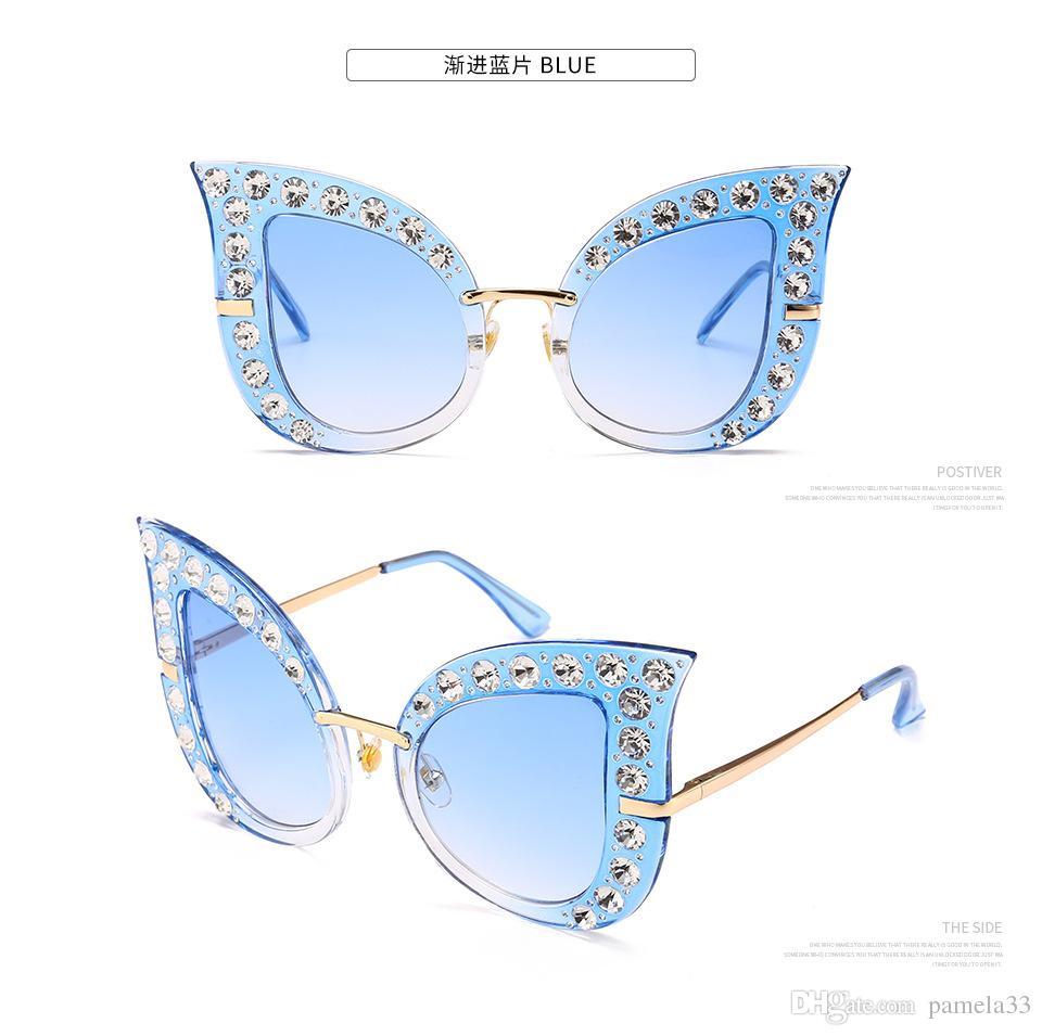 ac5d28a8ec Wholesale Cat Eye Sun Glasses Full Diamond Mosaic HD Luxury Bling Crystal  Oversized UV400 Sunglasses Women Street Beat Sunglas Stylish Reading Glasses  Sun ...