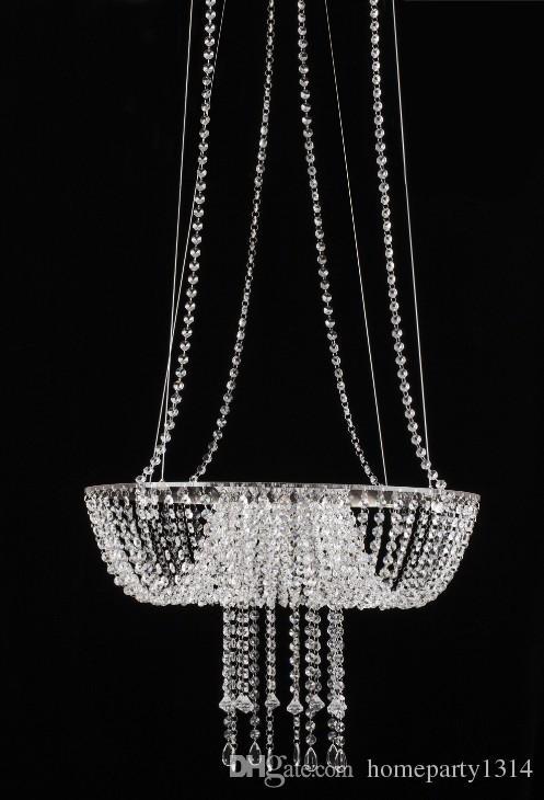 romântico luxo suspensão bolo Alto pan lustre de cristal do bolo de casamento estar de casamento de cristal titular bolo vaso de flor grande com luz