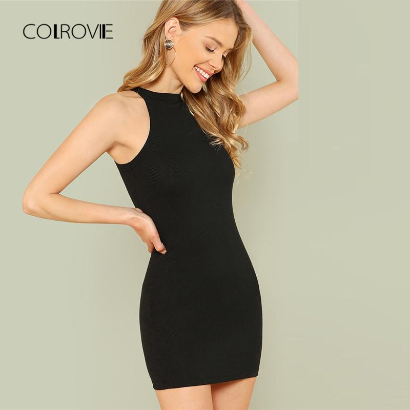 cbb537319b2 COLROVIE Black Sexy Sleeveless Mock Neck Solid Halter Summer Dress Mini Dress  2018 Slim Casual Women Basic Bodycon Shop Sundresses White Dresses Party  From ...