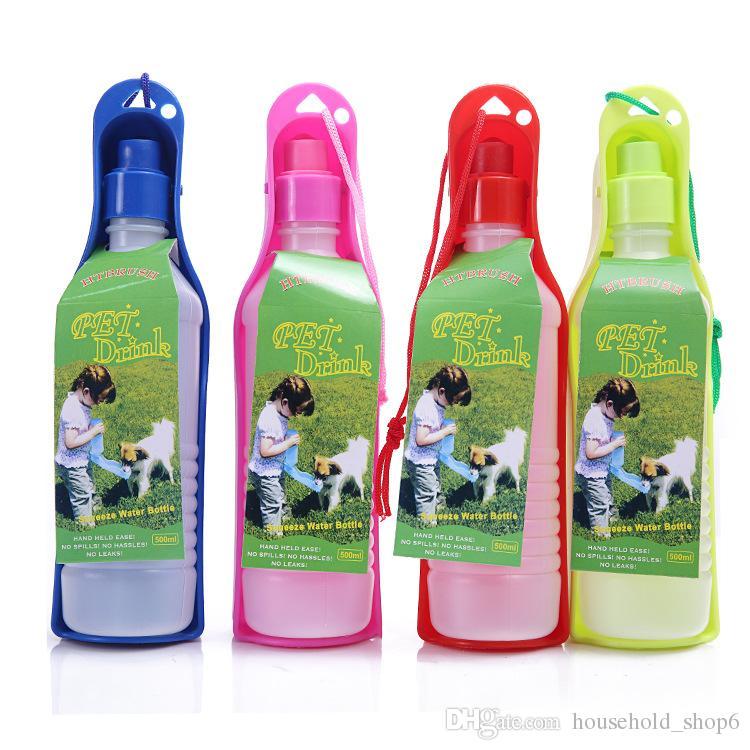 0.5L 애완 동물 물 병 개 여행 물 피더 그릇 강아지 휴대용 주전자 플라스틱 애완 동물 용품
