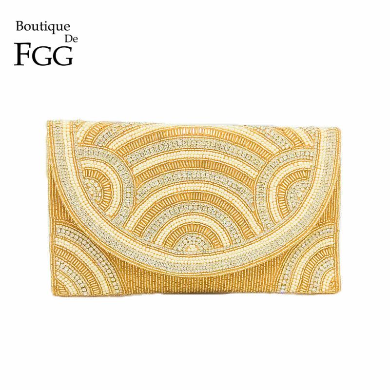 d42734fb53 Boutique De FGG Elegant Indian Handmade Women Beaded Gold Evening Clutch Bag  Wedding Party Prom Crystal Envelope Purse Handbag Satchel Handbags Handbag  ...
