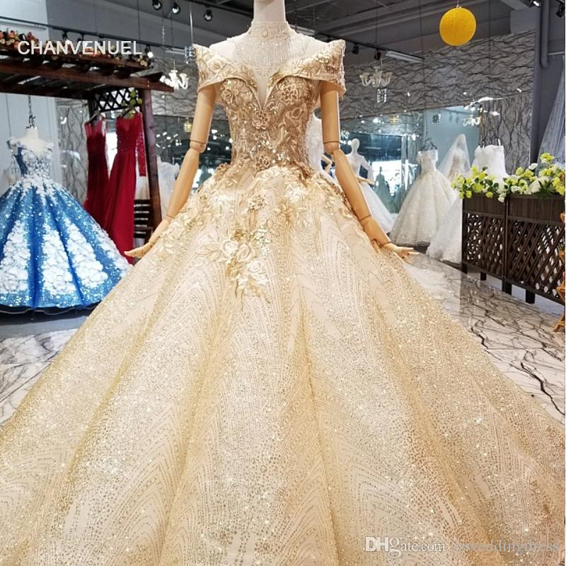 44547d69283 2019 Newest Shiny Bling Champagne Prom Dress Luxury Ball Gown Party Dress  Off Shoulder V Neck Swollen Evening Dress With Crystal Necklace Cheap Sexy  Dresses ...