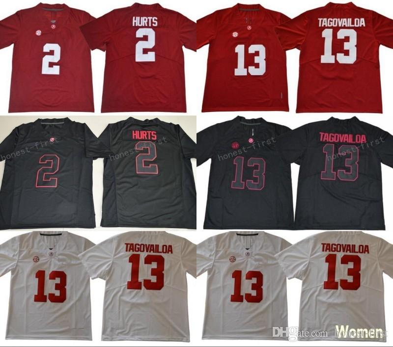 4f2e85e38 2019 13 Tua Tagovailoa Jersey 2 Jalen Hurts Men Women Youth Alabama Crimson  Tide Football Jerseys Black Red White From Honest First