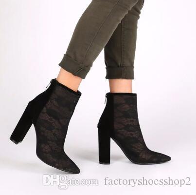 0ab50615e6f90 Acheter Femmes Chunky Heel Mesh Shoes 2018 Bout Pointu Sexy See Through  Black Talons Hauts Bottines Dames D été Chaussures Sandal Boots De  150.96  Du ...
