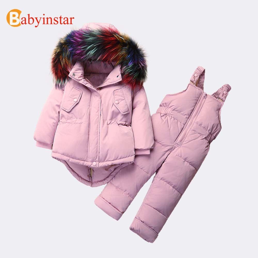 5f0aadc2dd3 Babyinstar Baby Girls Down Parkas Sets 2018 New Children s Winter ...