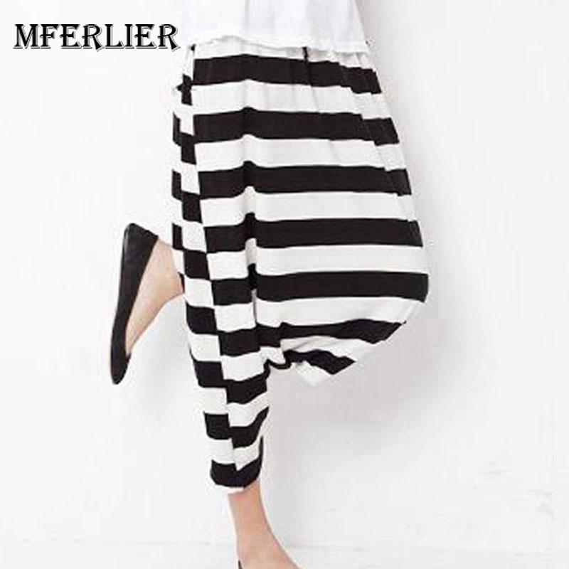 Compre Mferlier Mujeres Verano Cómodos Pantalones Sueltos Arco Cintura  Elástica Raya Sólido Casual Pantalones Cruzados Con Estilo Para Mujeres  S914 A  18.93 ... b3c58048bbb