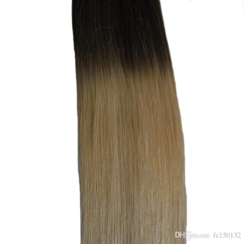T2 / 613 Renk sarışın Brezilyalı saç Bant İnsan Saç Uzantıları 100G cilt atkı bakire Düz 40 Adet Ombre Bant İnsan Saç Uzantıları