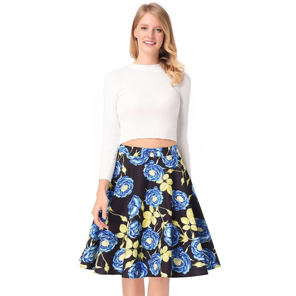 4e7edf9a37cb 2019 Fashion Summer Floral Print Ball Gown Pleated High Waist Skirts Party  Female Vintage A Line Skirts Elegant Midi Skirt For Party From Missher