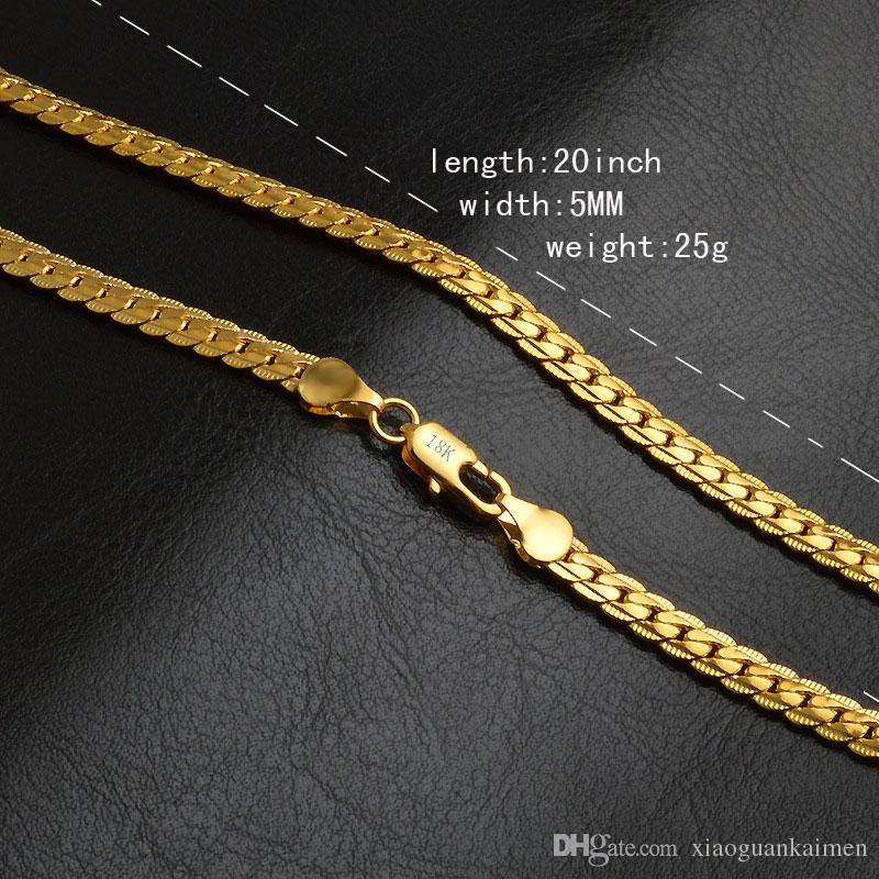 5mm fashion Luxury mens womens Jewelry 18k gold plated chain necklace for men women chains Necklaces gifts Wholesales accessories hip hop