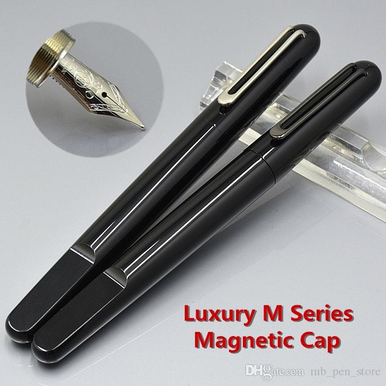 AAA Luxury M series Black Resin Magnetic shut cap Classic Fountain pen with  MB Brands 4810 Middle size 14k Nib Write ink pens