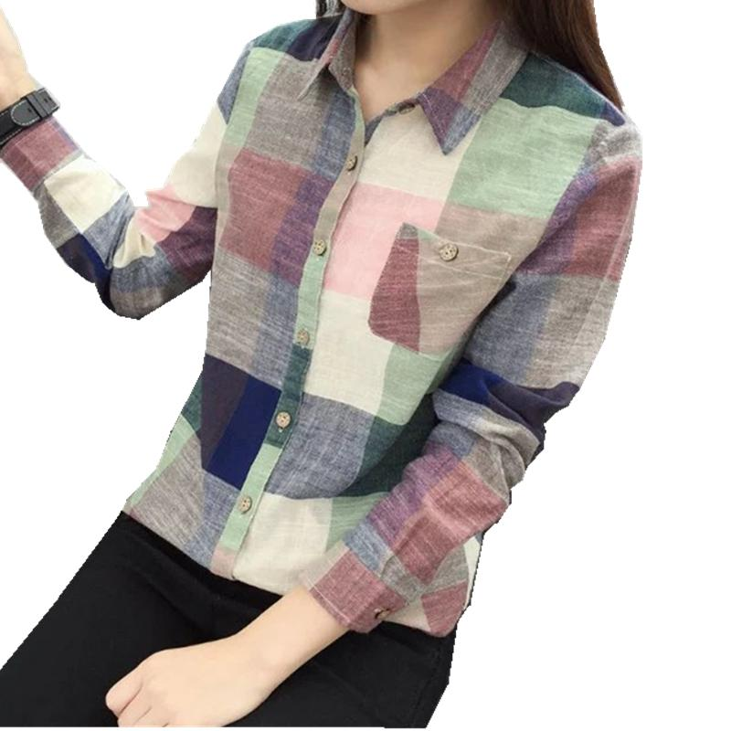 2017 New Vintage Long Sleeve Plaid Autumn Blouse Women's Blouse Shirts Female Blusas White Ladies Tops Cotton Shirts for Women