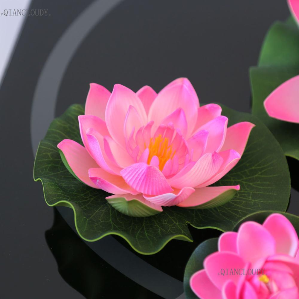 2018 Loating Wedding Artificial Hot Pink Lotus Leaves Fake Flowers