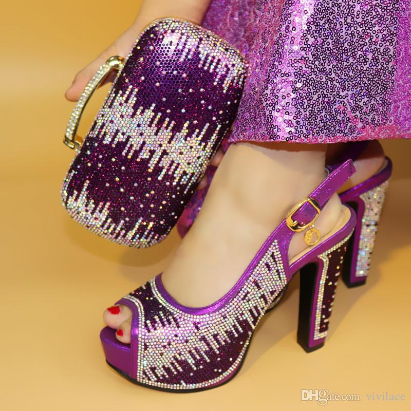 vivilace Hot Sale African Rhinestones red Color Shoes And Bag Set Italian Shoes With Matching Bags And Party Shoes ME77