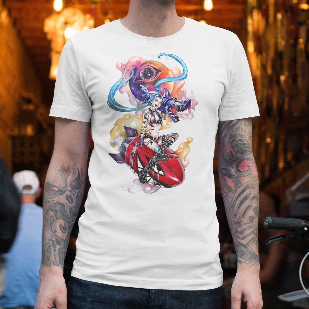 ea7a2ce157 Compre Camiseta De Manga Corta Para Hombre Envío Gratis JINX LOL CAMISETA  UNISEX