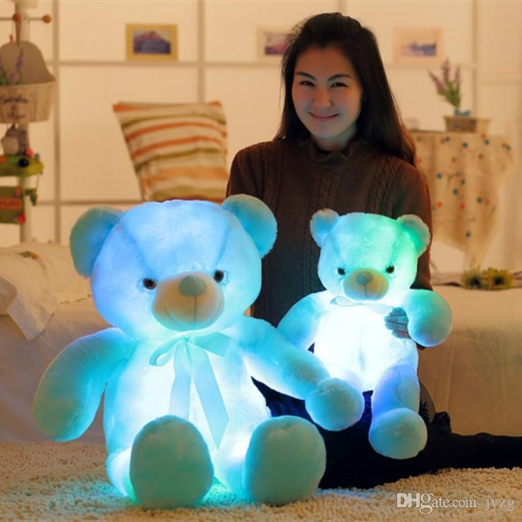 30cm 50cm Colorful Glowing Teddy Bear Luminous Plush Toys Kawaii Light Up LED Teddy Bear Stuffed Doll Kids Christmas Toys
