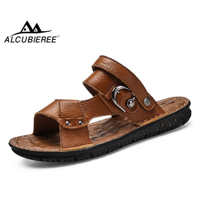 708d36c47f223 ALCUBIEREE Summer Leather Sandals Mens Rubber Sole Beach Shoes ...