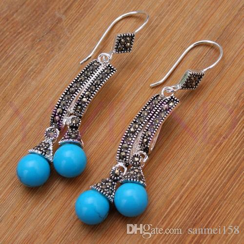 9a97d87f9 New Lady s Round Balls Blue Natural Stone 925 Sterling Silver Hooks ...