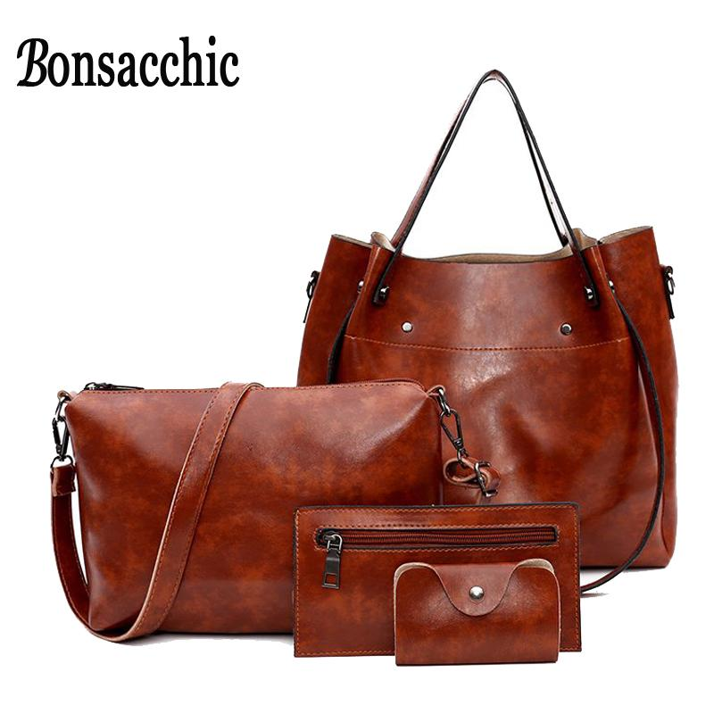 8ba8a472425 Bonsacchic PU Leather Bags Women Brown Handbag Set Designer Handbags High  Quality Black Handbag Purse Woman Hand Bag Ladies Purse Designer Purses  From ...
